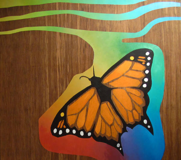 Painting of butterfly in acrylic colours on strand woven bamboo panel