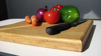 bamboo cutting board made out of hard strand woven bamboo